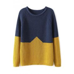 Loose Simple Color-Blocked Knit Sweater ($16) ❤ liked on Polyvore featuring tops, sweaters, oasap, shirts, loose long sleeve shirt, long sleeve sweater, knit sweater, color block sweater and long sleeve shirts