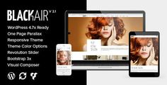 Blackair - One Page WordPress Theme for Hair & Beauty Salon by lithemes  Blackair is a Responsive, One Page Parallax, and Retina enabled wordpress theme built using Bootstrap 3  framework for Hairdresse