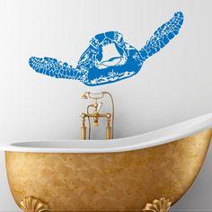 Wall Decal tartaruga Sticker mare animali tartaruga tartaruga decalcomanie bagno camera da letto parete arte nautica Marine mare oceano Decor C091
