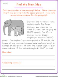 Fifth Grade Comprehension Worksheets: Find the Main Idea: Elephant