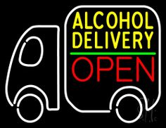 Alcohol Delivery Open Neon Sign 24 Tall x 31 Wide x 3 Deep, is 100% Handcrafted with Real Glass Tube Neon Sign. !!! Made in USA !!!  Colors on the sign are White, Yellow, Green and Red. Alcohol Delivery Open Neon Sign is high impact, eye catching, real glass tube neon sign. This characteristic glow can attract customers like nothing else, virtually burning your identity into the minds of potential and future customers.
