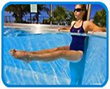 "The most important factor for improving cardiorespiratory fitness (cardio or CR) is the intensity of the workout. Changes in CR fitness are directly related to how ""hard"" an aerobic exercise is performed. Water Aerobics Routine, Water Aerobics Workout, Water Aerobic Exercises, Swimming Pool Exercises, Pool Workout, Fitness Exercises, Fitness Tips, Water Workouts, Ab Workouts"