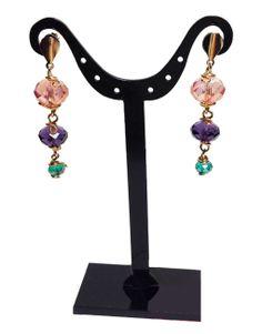 Arete bañado en Oro con Cristal Rosa Violeta y Turquesa de Miner Deng