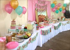 Carousel- Pink, Gold and Mint Green Birthday Party Ideas | Photo 1 of 21 | Catch My Party