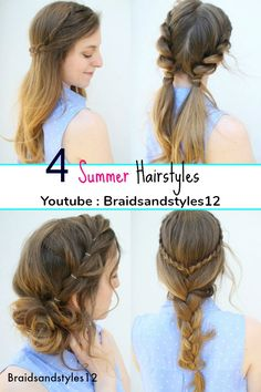 4 Easy Summer Hairstyle Ideas by Braidsandstyles12. Pigtail hairstyles, braided hairstyles, messy bun hairstyles.