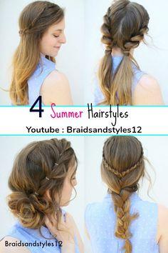 4 Easy Summer Hairstyle Ideas by Braidsandstyles12. Pigtail hairstyles, braided hairstyles, messy bun hairstyles.