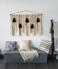Large macramé wall hanging/large woven wall hanging/black and white wall hanging/large yarn tapestry/Tassel wall hanging Large Macrame Wall Hanging, Yarn Wall Hanging, Wall Hangings, Behind Couch, Above Couch, Outdoor Patio Designs, Rental Decorating, Wall Spaces, Grey Walls