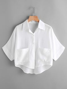 SheIn offers Dip Hem Dual Pockets Front Shirt & more to fit your fashionable needs. Girls Fashion Clothes, Teen Fashion Outfits, Mode Outfits, Fashion Dresses, Fashion Shirts, Crop Top Outfits, Cute Casual Outfits, Vetement Fashion, Looks Vintage