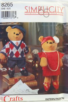 Simplicity 8265 Decorative Bears and Clothes