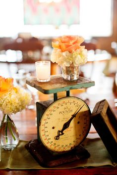 Vintage scale centerpiece - Chicago Salvage One Wedding by Olivia Leigh Photographie - via ruffled