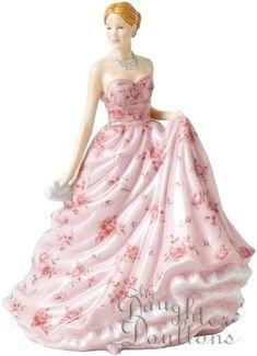 PINK DRESS/RED FLOWERS FIGURINE