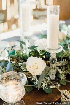 Wedding table decor ideas - white, flowers, roses, greenery {Dewitt for Love Photography}