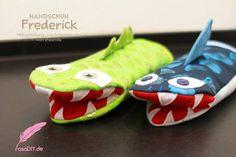 Handschuh Frederick (Eine Nähanleitung mit Schnittmuster von shesmile) Einheitsgröße. Ideal für Ofen und Grill. Nähbar als Krokodil, Hai, Schlange oder ganz neutral.