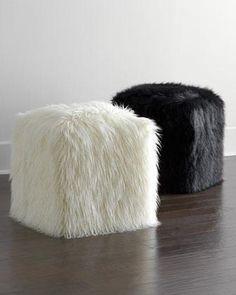 Seating - Faux-Fur Pouf I Horchow - black faux fur pouf, white faux fur pouf, faux fur pouf, faux fur cube,