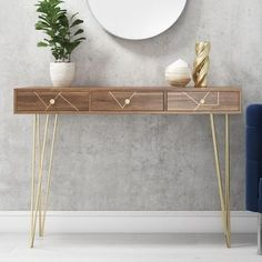 Buy Tahlia Wood Mid Century Console Table with Harpin Legs & Storage Drawers from - the UK's leading online furniture and bed store Entryway Console Table, Narrow Console Table, Entryway Decor, Brass Console Table, Hall Furniture, Large Furniture, Online Furniture, Furniture Stores, Cheap Furniture