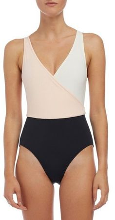 SOLID & STRIPED 'The Ballerina' Colorblock One-Piece Swimsuit