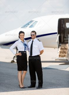 Stewardess And Pilot Standing Against Private Jet ... adult, aircraft, airhostess, airline, airliner, airplane, airport, attendant, aviation, business, cabin, captain, caucasian, commercial, confident, crew, day, female, flight, full, girl, jet, job, journey, length, male, man, men, mid, occupation, outdoor, parked, people, person, pilot, plane, portrait, private, profession, professional, small, smile, stewardess, terminal, transportation, travel, uniform, woman, women, young
