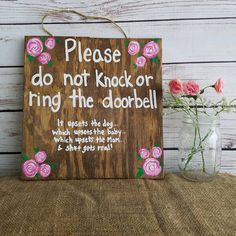 This beautiful and fun handpainted do not disturb door sign is the perfect gift for a new mom. All signs are made to order especially for you! We love custom orders. Need the wording or colors changed? No problem! Send us a message. Size approx 10 x 10 w/ twine hanger. Some of the wood I use has imperfections in it, but I feel that gives each of my signs character and a rustic look - If you have a specific size or wood quality youd like I will gladly accommodate you.  Each sign comes wit...