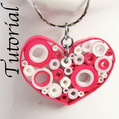 Tutorial for Heart Pendant Paper Quilled Retro by HoneysHive, $2.50