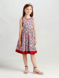 Tossed Camellia Cotton V-Back Dress