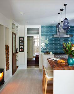 Backsplash,splashback, tile, subway, colour, blue Take it to the ceiling? (yes - looks amazing)