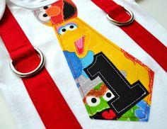 Elmo Birthday Inspired Tie and Suspenders Applique Onesie or T-Shirt for Baby Boys - Sesame Street 1st Birthday - Elmo Birthday by TheBaerEssentials on Etsy https://www.etsy.com/listing/127764891/elmo-birthday-inspired-tie-and