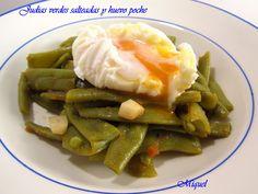 judias verdes salteadas con huevo poche