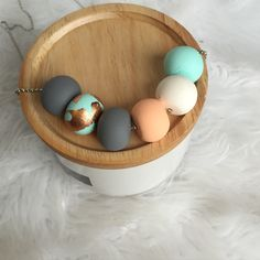 Polymer clay necklace. Mint, copper, peach, white and grey by RafHop on Etsy https://www.etsy.com/listing/225593903/polymer-clay-necklace-mint-copper-peach
