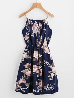 Boho Slip Floral Fit and Flare Pleated Spaghetti Strap Sleeveless Natural Navy Short Length Braided Bead Strap Tie Floral Print Dress - Summer Dresses Flower Dresses, Pretty Dresses, Women's Dresses, Dress Outfits, Casual Dresses, Fashion Dresses, Beaded Dresses, Fashion Fashion, Girly Outfits