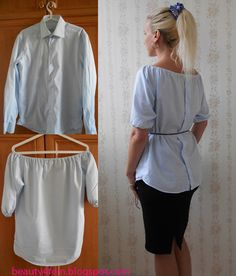 Shirt Refashion, Diy Sewing Projects, Tee Shirts, Tees, Diy Dress, Fashion Face Mask, Diy Clothes, Couture, Ruffle Blouse
