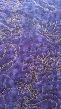 Got a Mardi Gras quilt?  I have a terriffic Mardi Gras quilt design.   #customquiilting #InThePinkQuilting #longarmquilting