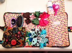 Repurposing a 31 gifts Fold and Go organizer as a travel organizer for a little girl.