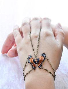 slave bracelet butterfly by Tribal Macrame