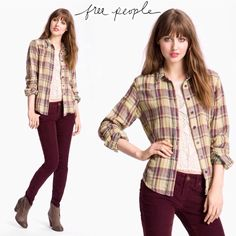 Free People plaid shirt I think you'll wear it better. Lol. Free People long sleeve button down plaid shirt. Plaid is in maroon/yellow/grey. Front breast pocket. Fabric is lightweight and has a gauze feel to it. The shirt is made of two layers of material, so lightweight, but not see through. Size is S. Sorry, not interested in trades. Free People Tops Button Down Shirts