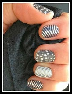 Gray is my favorite color and many people think that is boring. Jamberry has many designs to jazz up my manicures using my favorite colors. Featured in this manicure is gray crisscross, metallic berry, diamond dust, and white chevron. jamminwithkyle.jamberrynails.net