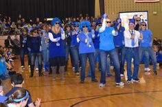 """Faculty and staff at St. Hubert Catholic School in Hoffman Estates performed a flash mob dance to the song """"Happy"""" last week during a student assembly celebrating the school's recognition as a 2014 National Blue Ribbon School. The school was one of 337 nationwide chosen for the honor by the U.S. Department of Education."""