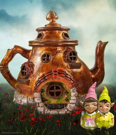 Teapot Fairy House in the fairy garden.