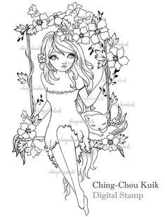 swing in spring digital stamp instant download cat kitty flower girl fantasy art by ching chou kuik - Flower Girl Coloring Book