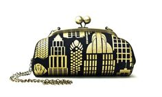 Black and Gold City Clutch Bag with Shoulder by boejackdesign