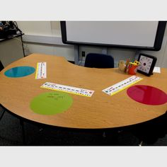 Van plakplastic grote cirkels uitknippen. Hier kun je aan de instructietafel fijn werken met afwasbare stiften ( white-board)