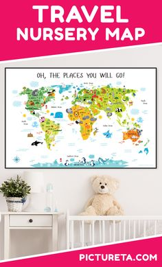 Create adventure nursery for your baby with Pictureta's world map. I wish I had this map when growing up. It is full of adorable animals and famous landmarks and looks awesome in my baby's nursery. Get yours at PICTURETA. Playroom Wall Decor, Map Wall Decor, Nursery Wall Art, Nursery Decor, Wall Maps, Baby Decor, Boy Nursery Themes, Baby Boy Nurseries, Bedroom Themes