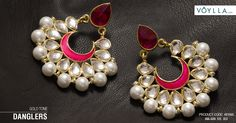 GOLD TONE DANGLERS STUDDED WITH PEARL BEADS Product Code :481560 #fashion #earrings #women #danglers #beauty #most #voylla
