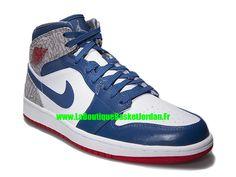 best loved a4ee9 99907 Basket Jordan 1 I Retro Mid 2013 - Chaussure Nike Jordan Pas Cher Pour  Homme Bleu Blanc Gris 554724-107