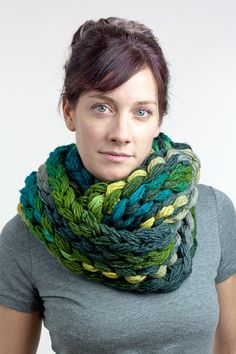 Finger knit chunky infinity scarf - green & teal multicolor - one of a kind