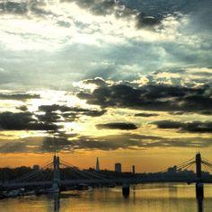 Sunrise over Albert Bridge, London