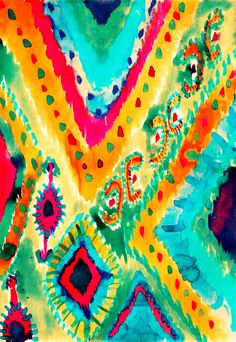Ikat V image as a canvas copy - Art Painting Ikat Pattern, Pattern Art, Pattern Design, Fabric Design, Textures Patterns, Print Patterns, Scarf Patterns, Hippie Art, Illustrations