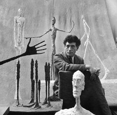 Alberto Giacometti surrounded by his sculptures. Paris, France 1951