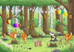 'The woodland party is in full swing!' - illustration by Tim Budgen