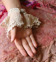 RESEERVED for JOANNE.romantic wristlet from by FleursBoheme