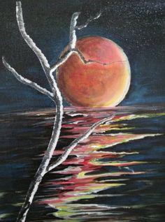Red Moon, Original Artwork, Facebook, Canvas, Gallery, Artist, Painting, La Luna, Tela